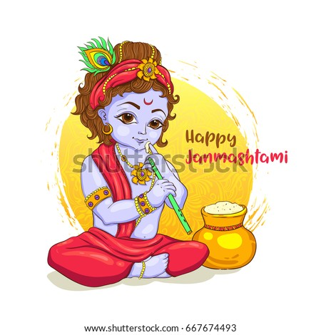 little krishna with a pot of