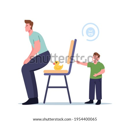 Little Laughing Boy Character Put Rubber Duck on Chair to Kidding Dad, Child doing Prank Trick Kidding Father at Home. First April Fools Day, Humorous Situation, . Cartoon People Vector Illustration Сток-фото ©