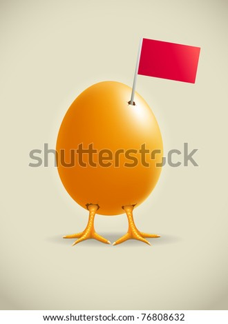 little legs egg and red flag. Vector illustration.