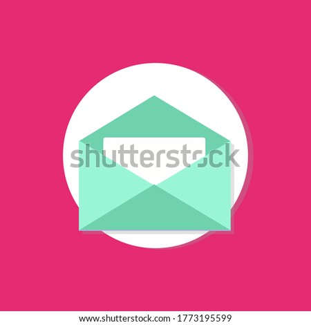 Little Letter In Open Envelope UI Icon Mint Green Magenta Ftat Design Business Framework Mail