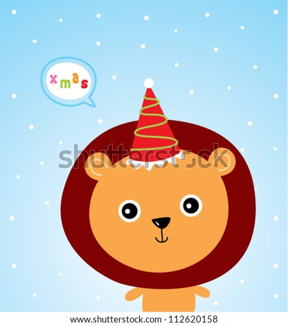 little lion christmas greeting card - stock vector