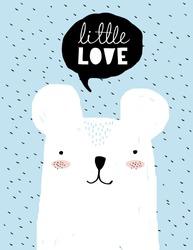 Little Love-Funny Baby Shower Vector Illustration. Simple Sweet Nursery Art.White Teddy Bear and Black Bubble Speech Isolated on a Blue Background. Lovely Room Decoration for Baby Boy. Cute Polar Bear