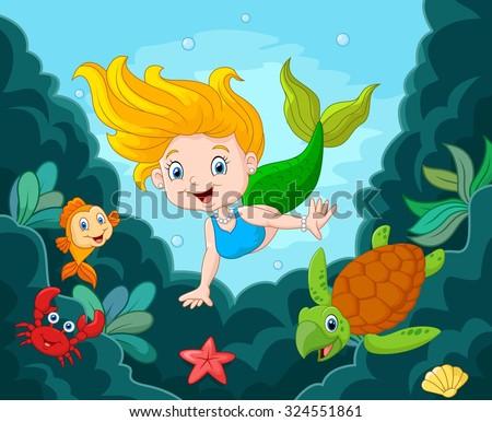 little mermaid swimming