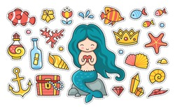 Little mermaid with heart sitting on a rock, fish, starfish, anchor, treasure chest. Set of cartoon stickers, patches, badges, pins, prints for kids. Doodle cartoon style. Vector illustration.