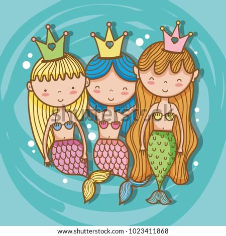 Stock Photo Little mermaids art cartoon