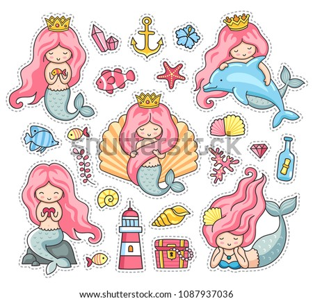 Little mermaids, princess, dolphin, seashell, anchor, treasure chest, lighthouse. Under the sea. Set of cartoon stickers, patches, badges, pins, prints. Doodle style. Vector illustration.