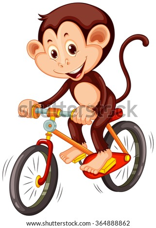 Little monkey riding a bicycle illustration