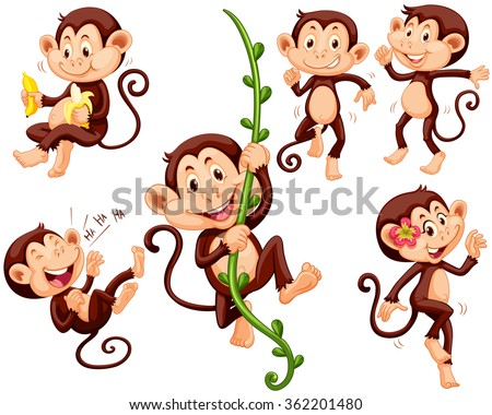 stock-vector-little-monkeys-doing-different-things-illustration