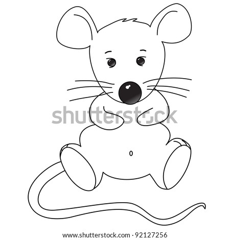 little mouse sitting, cartoon childish style, coloring, isolated on white background