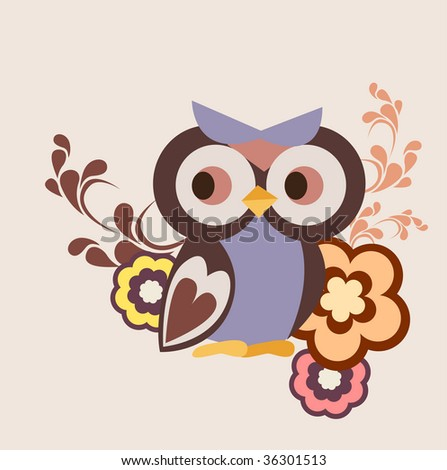 little owl and floral wallpaper design