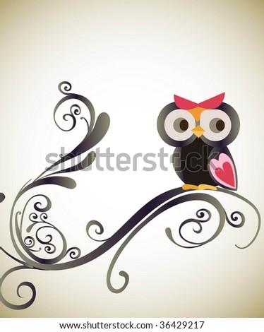 little owl with swirl