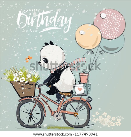 Little panda on a bike with balloons
