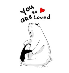 little penguin and big white bear are in love, hugging each other, red heart vector isolated illustration for t-shirt, phone case, mugs, baby shower,wall art. text