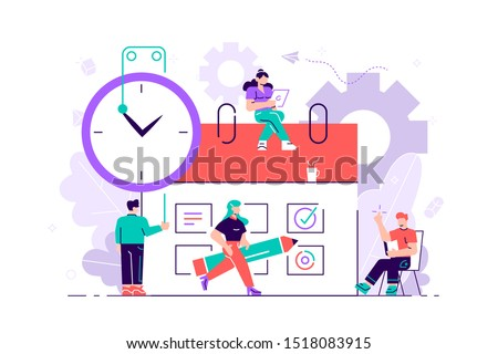 Little people characters make an online schedule in the tablet. Vector design business graphics tasks scheduling on a week. Flat vector illustration for web page, social media, documents, cards.Vector