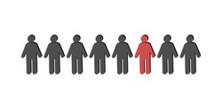 Little people in a row. The figures of people are black and one person is red. Vector illustration, flat cartoon design. isolated on white background. Concept: individual, make a choice, team, society