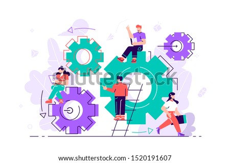 Little people links of mechanism. Business mechanism. Abstract background with gears. People are engaged in business promotion, strategy analysis, communicate concept. Business vector illustration