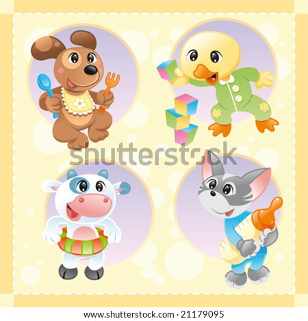 Little pets with background. Funny cartoon and vector characters