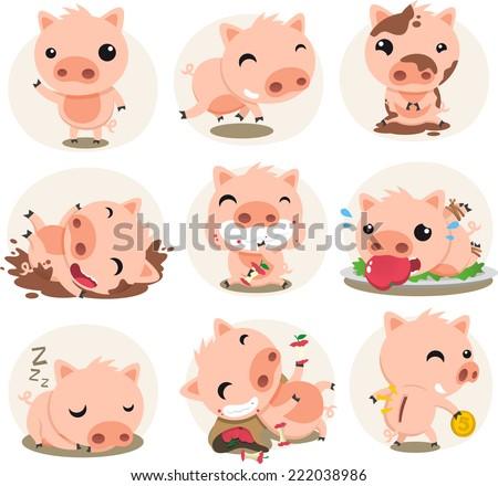 little pig cartoon action set