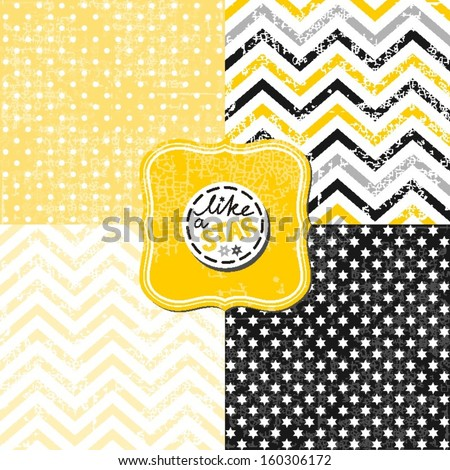 Little Polka Dots Stars And Chevron Black White Yellow ...
