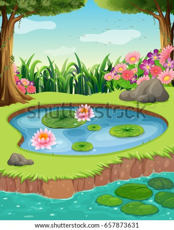 little pond by the river in the