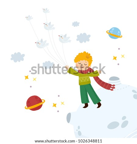 little prince flying with birds