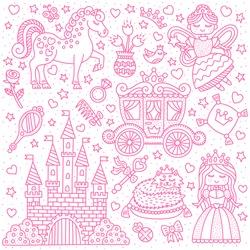 Little princess fairy tale. Set of outline elements. Princess, fairy, castle, pony. Vector illustration.