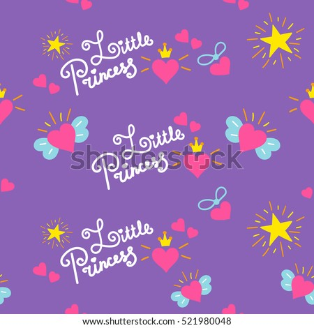 Vector Images Illustrations And Cliparts Little Princess Pattern Vector Sweet Girl Background For Template Birthday Card Baby Shower Invitation Girls Wallpaper And Fabric Print With Hearts In Crown And Wings And Stars