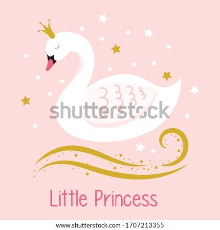 little princess. swan. girl graphic tees vector design