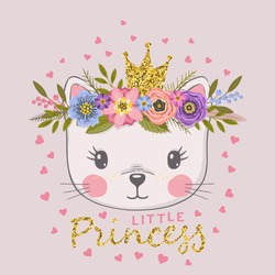 Little Princess with crown. Cute cat with floral wreath