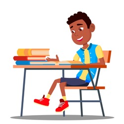 Little Pupil At A Desk Reading Book In The Classroom Vector. Black, Afro American. Isolated Illustration