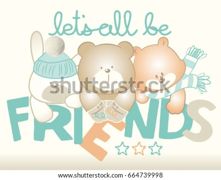 Stock Photo Little Puppies friends.Vector artwork for baby wear or cards