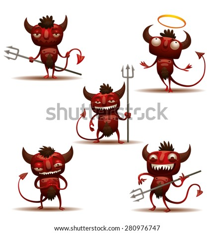 little red devils set  vector