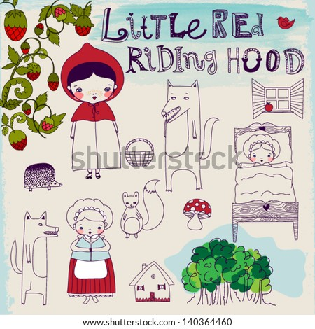 Little Red Riding Hood Fairytale - Hand drawn characters and pictorial elements of a famous fairytale, including Riding Hood's granny, wolf and forest friends