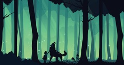 Little Red Riding Hood. Night Forest Background. Vector illustration for animation.