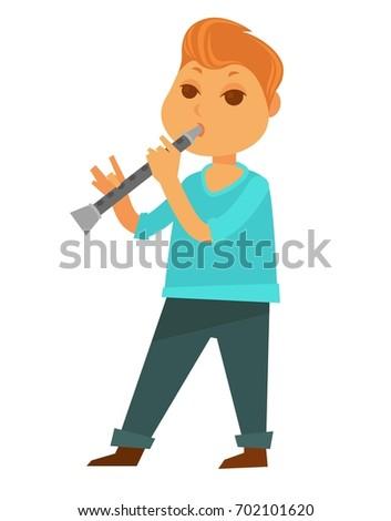 little redhead boy plays flute