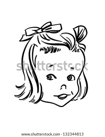 Little Retro Girl - Clip Art Illustration