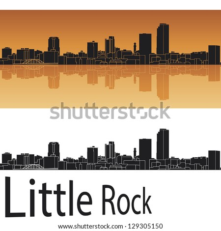 Little Rock skyline in orange background in editable vector file