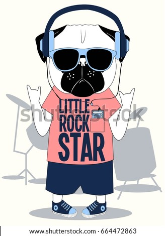 little rock star pug dog illustration vector for print design.