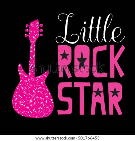 Little rock star. Typography graphic print, Abstract fashion drawing for t-shirts. creative design for girls. Illustration in modern style for clothes. Girlish print