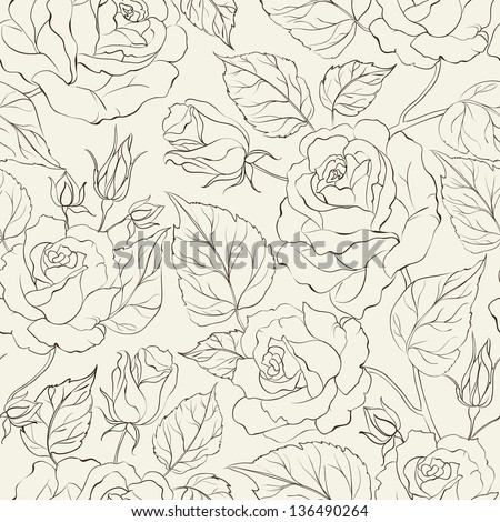 Little Rose seamless background. Vector Illustration.