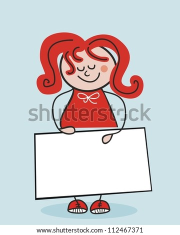 Little school girl holding a banner or cardboard (space for your text)