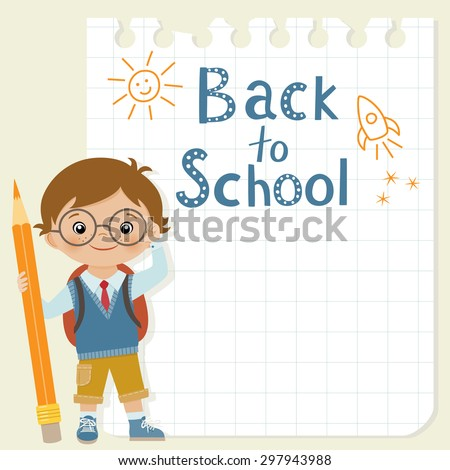 Little schoolboy with pencil is standing in front of square paper with his drawing.