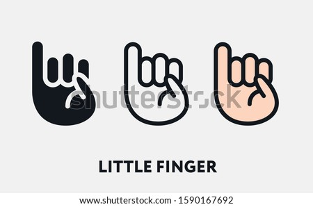 Little Small Finger. Hand Gesture Truce Promise. Flat Vector Line Icon Set.