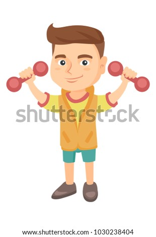 Little smiling caucasian boy holding dumbbells. Cheerful boy exercising with dumbbells. Happy boy raising dumbbells. Vector sketch cartoon illustration isolated on white background.