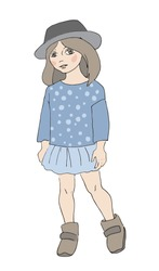 Little stylish girl dressed in cute hat. Children's fashion illustration, isolated on white. Hand drawn sketch, vector.