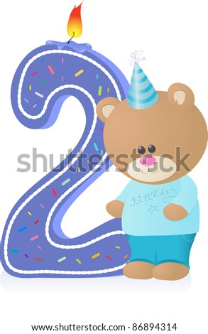 Little Teddy-bear candle for kid`s Birthday party