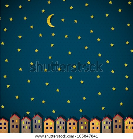 Little town at night. Vector paper-art