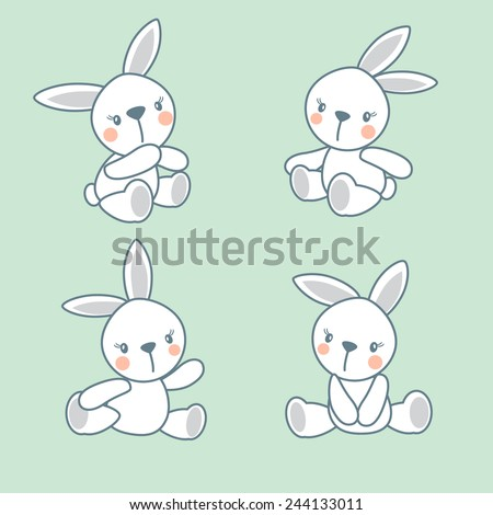 little toy bunny cute vector