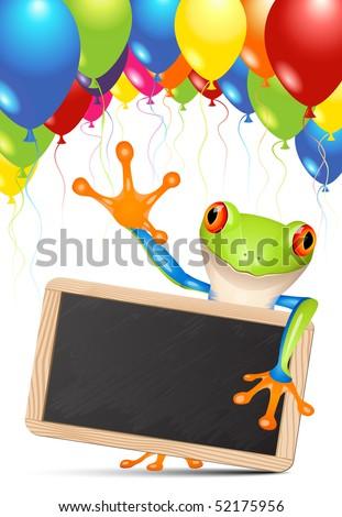 Little tree frog holding a blackboard under balloons