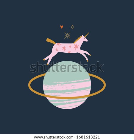 Little unicorn in vector. Magic concept. Funny doodle vector illustration with cosmic pony and planet Saturn.